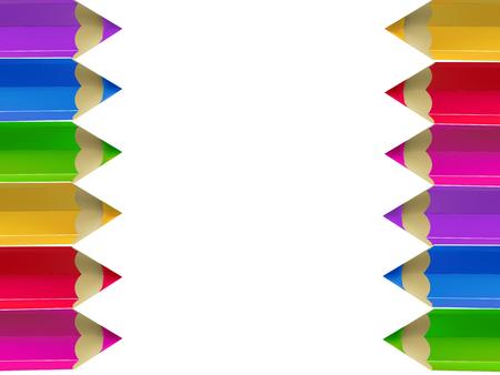 Colour pencils border on white background.