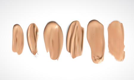 skin tones: Cosmetic concealer smear strokes, tone cream smudged Vector. Illustration