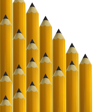 modify: Yellow pencils on white background. vector illustration.