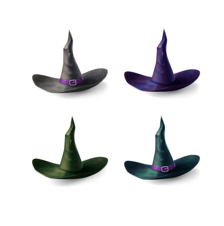 Witch hats set isolated on white background Illustration