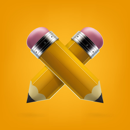 Yellow pencils icon vector illustration.