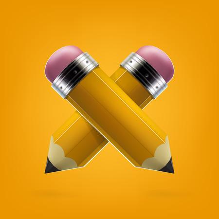 Yellow pencils icon vector illustration.