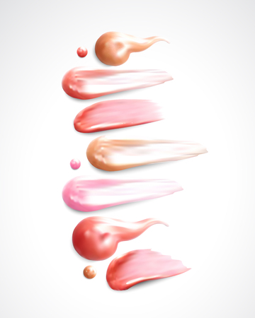 Collection of various Smears lipstick on white background. Illustration