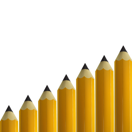 Yellow pencils on white background.