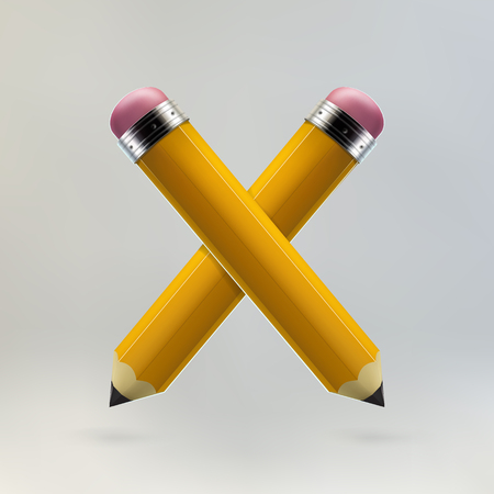 Yellow pencils crosswise icon on grey background. Realistic 3d vector illustration made with gradient mesh. Education and creativity concept.
