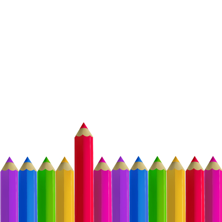 Colour pencils border isolated on white background. Education and creativity concept.