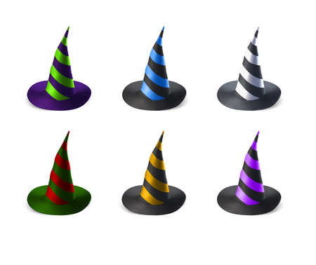 soothsayer: Witch hats set isolated on white background Illustration