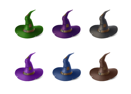 mythological character: Wizard hats isolated on white background. Halloween vector illustration