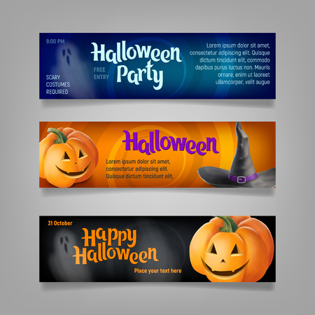 mythological character: Three Halloween banners. Vector.
