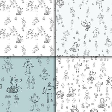 Robot doodles pattern set.