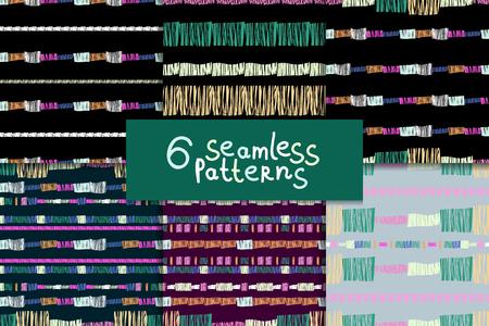 Abstract seamless pattern set Vector illustration. Illustration
