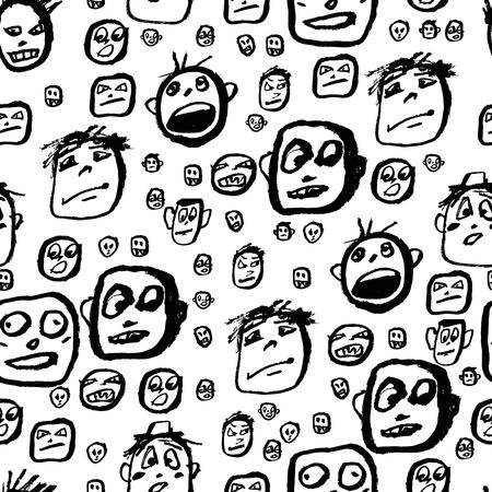 Doodles faces pattern Illustration