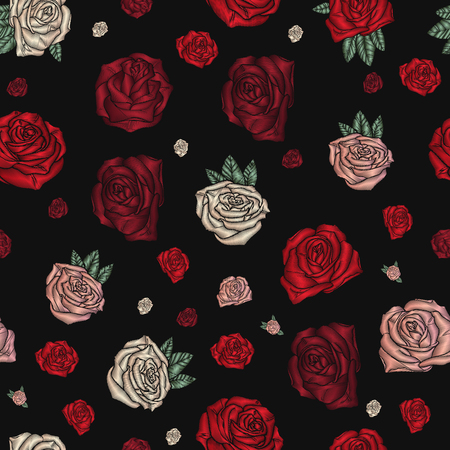 Embroidery seamless pattern with roses. Illustration