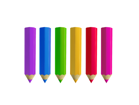 Colour pencils isolated on white background. Education and creativity concept. Illustration