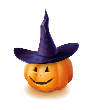 Realistic vector Halloween pumpkin with hat. Smile face isolated on white background. Jack o lantern hyperrealism illustration. Illustration