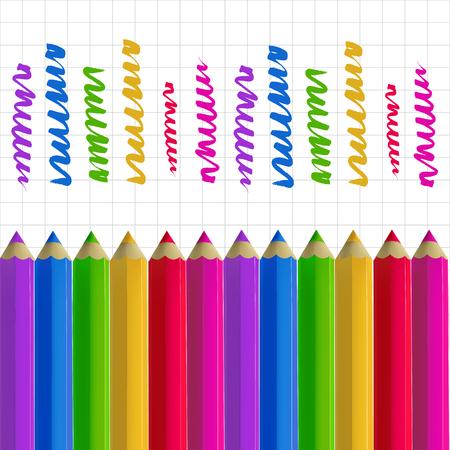 Colour pencils on copy-book paper