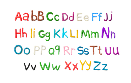 Handmade plasticine alphabet. English colorful letters of modelling clay.