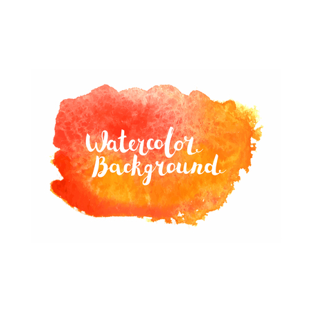 Watercolor brush paint. Hand painted art with lettering isolated on white background.