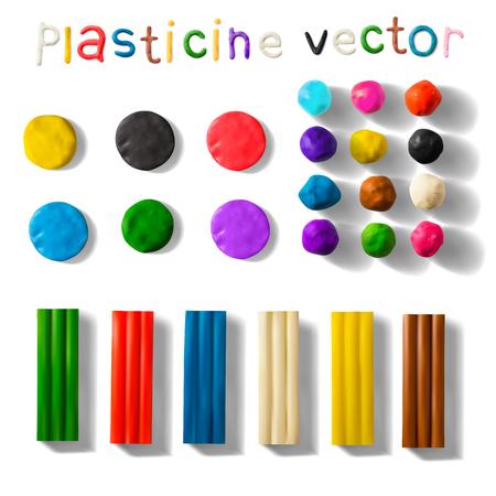 Kleur plasticine set geïsoleerd op een witte achtergrond. 3D Vector illustratie. Stock Illustratie