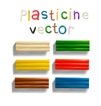 Color plasticine brick set isolated on a white background. Modeling Clay. 3d Vector illustration. Creative putty-like material for childrens play