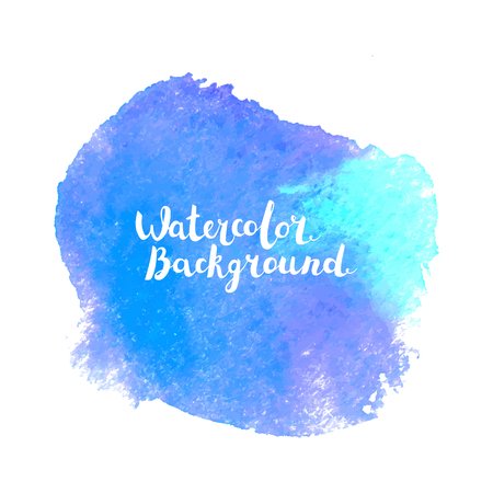Watercolor vector paint background. Hand painted art with lettering. Abstract blot. Design element for web banners, cards
