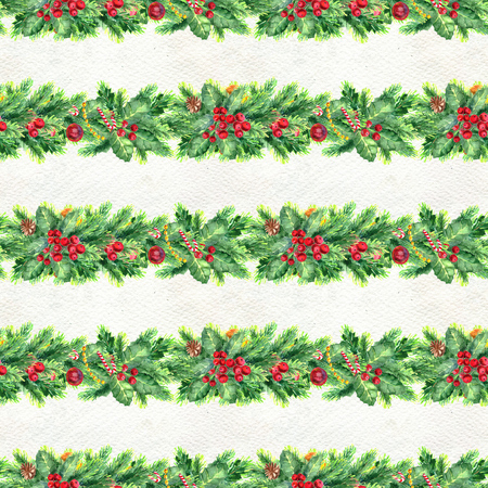 Merry Christmas seamless pattern with garlands. Watercolor Illustration with xmas decoration Foto de archivo