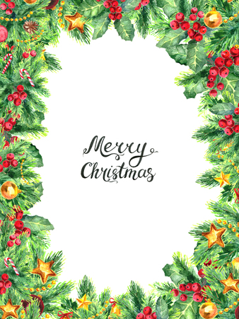 merry christmas frame template with european holly and decoration
