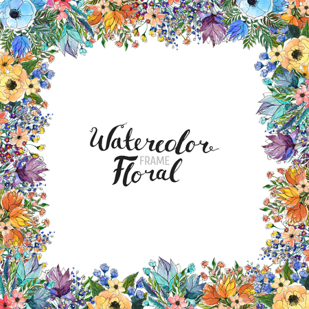 Watercolor Floral Background. Hand painted border of flowers. Good for invitations and greeting cards. Frame isolated on white and brush lettering. Spring blossom Stok Fotoğraf - 96367658