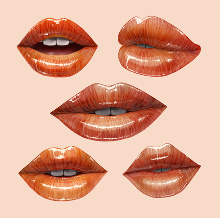 Sensual juicy lips collection. Mouth set  Vector lipstick or lip gloss 3d realistic illustration. Vectores