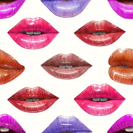 Nahtloses Muster von bunten sexy Lippen. Realistisches Design des Vektorlippenstifts oder des Lipglosses 3d. Modeillustration