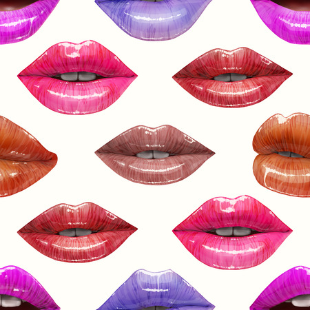 Seamless pattern of colorful lips. Vector lipstick or lip gloss 3d realistic design. Fashion illustration