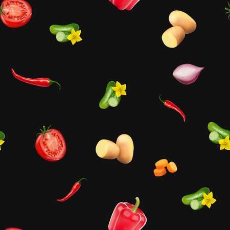 Seamless pattern with vegetables. Vegeterian food on black background. Tomato, pumpkin, cabbage, potatoes onion broccoli carrot pepper and garlic. 3d realism vector illustration.