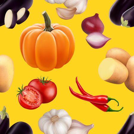 Seamless pattern with vegetables. Vegeterian food. Tomato, pumpkin, cabbage, potatoes onion broccoli carrot pepper and garlic. 3d realism vector illustration. Illustration