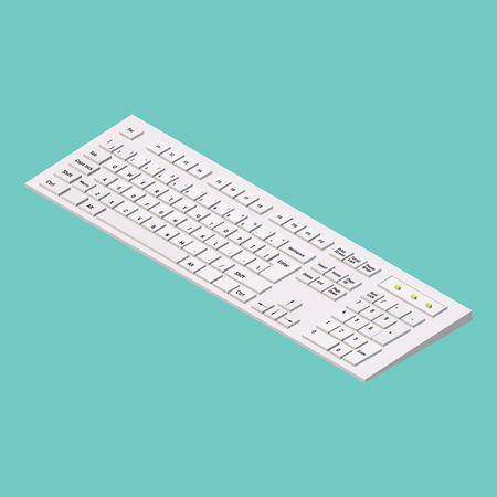 Modern white computer keyboard on green background. Isometric illustration. 3d office equipment Minimalistic vector style. Illustration