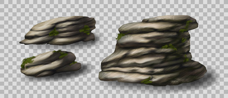 Rock stones collection. Vector 3d realistic illustration.