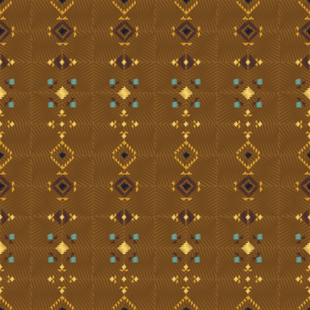 Geometric embroidery style. Ethnic seamless pattern. Abstract aztec background. Digital or wrapping paper. Good for web, print and textile design. Boho ornament vector.