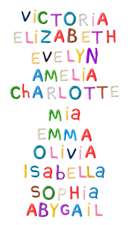 Handmade modeling clay girls names. Realistic 3d vector lettering isolated on white background. Creative colorful design. Children cartoon style. Victoria, Elisabeth, Evelyn, Amelia, Charlotte, Mia, Emma, Olivia, Isabella Sophia Abygail