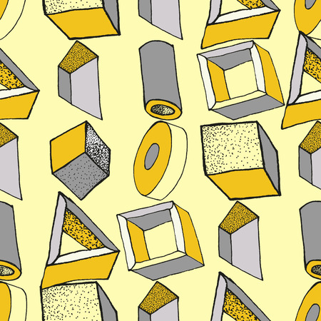 Seamless geometric pattern with 3d geometric objects. Abstract doodle background. Hand drawn primitives cube, torus, sphere, cone. Good for print, web, wrapping paper Ilustração