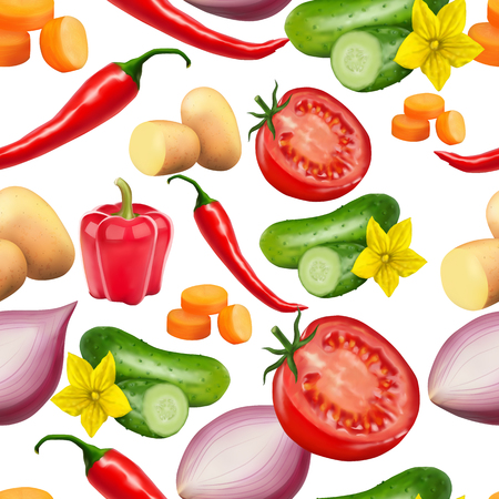 Seamless pattern with vegetables. Vegeterian food. Tomato, pumpkin, cabbage, potatoes onion broccoli carrot pepper and garlic. 3d realism vector illustration. 向量圖像