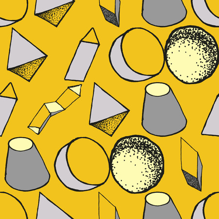 Seamless geometric pattern with 3d geometric objects. Abstract doodle background. Hand drawn primitives cube, torus, sphere, cone. Good for print, web, wrapping paper Illustration