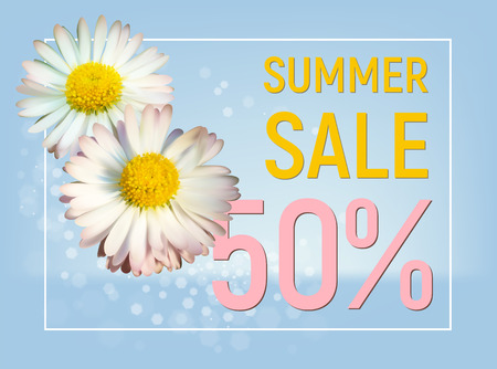 Summer sale 50 percent off banner with daisy flowers on blue background