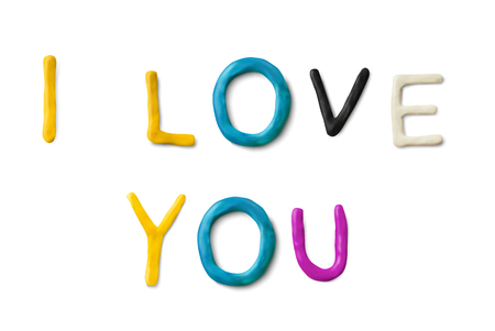 Handmade modeling clay words I love you. Realistic 3d vector lettering isolated on white background. Wedding or Valentines day design.