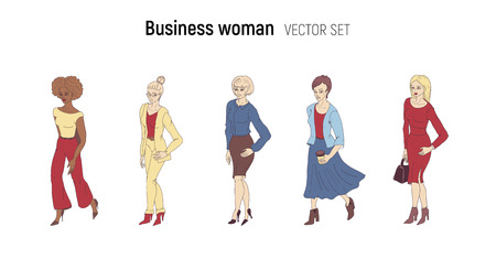 Business woman vector illustration. Cartoon style set. Young fashion lady