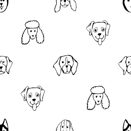 Seamless pattern with Dog breeds. Bulldog, Husky, Alaskan Malamute, Retriever, Doberman, Poodle, Pug, Shar Pei, Dalmatian. Hand drawn black and white vector illustration Doodle style design