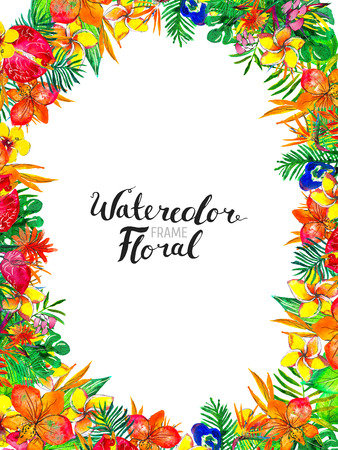 Watercolor Background with Tropical Plants and Flowers. Exotic floral frame. Colorful hand painted design.