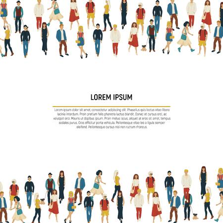 Große Gruppe von Menschen in Form einer Grenze auf weißem Hintergrund. Vektor-Illustration. Crowd-Rahmen