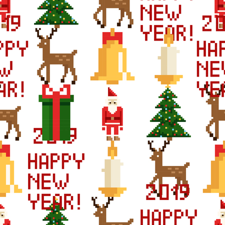 Christmas pixel seamless pattern. Arcade games New year and Xmas decoration elements. Trees snowman candles santa, gifts and wteath. 80s 90s style