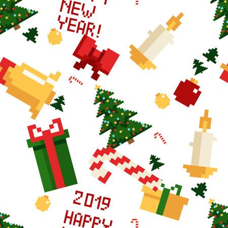 Christmas pixel seamless pattern. Arcade games New year and Xmas decoration elements. Trees snowman santa, gifts and wteath. 80s 90s style Ilustração