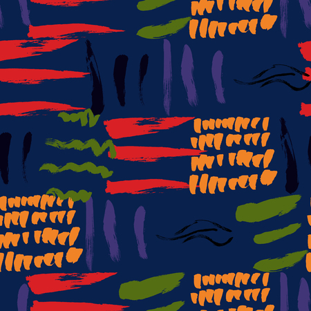 Seamless pattern hand drawn with a brush strokes. Abstract paint brushstrokes vector illustration. Grunge background. Good for web, print, textile and wrapping paper. Vector Illustration