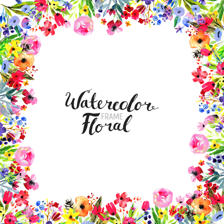 Watercolor Floral Background. Hand painted border of flowers. Good for invitations and greeting cards. Frame isolated on white and brush lettering. Rose, poppy and peony Spring blossom
